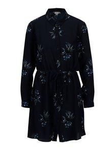 Tmavě modré košilové květované šaty Jacqueline de Yong Run