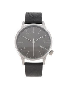 Ceas unisex argintiu&negru cu curea din piele naturala - Komono Winston Regal