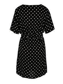 Čierne bodkované šaty s véčkovým výstrihom Jacqueline de Yong Ann