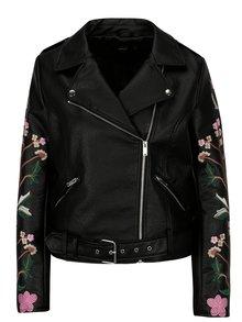 Čierna kožená bunda s výšivkou na rukávoch ONLY Maltes