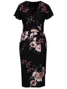 Čierne kvetované šaty s prekladaným výstrihom Dorothy Perkins