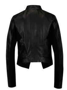 Černá kožená bunda s asymetrickým zipem VILA Tully