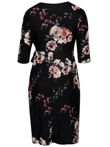 Černé květované zavinovací šaty s 3/4 rukávem Dorothy Perkins Curve