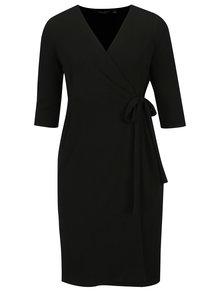 Čierne zavinovacie šaty s 3/4 rukávom Dorothy Perkins Curve