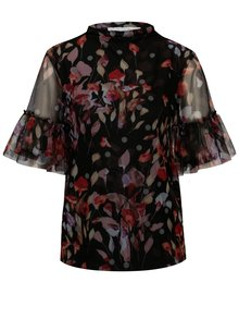 Bluza neagra din plasa cu print floral Vila Roba