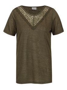 Kaki priesvitné tričko VILA Sumi