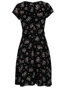 Rochie neagra cu print floral si cordon - Billie & Blossom