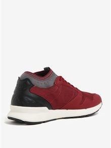 Pantofi sport gri&bordo cu detalii din piele intoarsa pentru barbati - Le Coq Sportif Omicron Craft