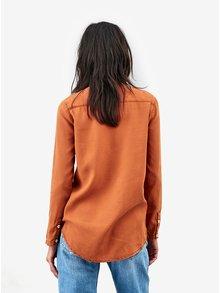 Oranžová dámska košeľa s dlhým rukávom Kings of Indigo Taja no Collar