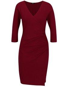 Vínové překládané šaty s řasením na boku ZOOT