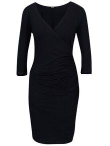Tmavomodré prekladané šaty so zberkaním na boku ZOOT