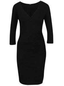 Čierne prekladané šaty so zberkaním na boku ZOOT