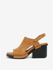 Hnědé semišové sandály na podpatku Camper Ivy
