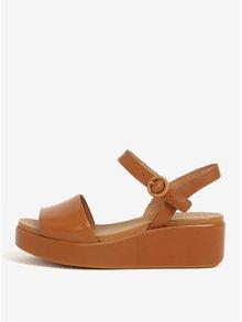 Hnědé dámské kožené sandály na platformě Camper Misia