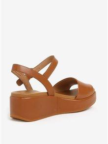 Hnedé dámske kožené sandále na platforme Camper Misia