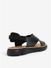 Čierne dámske kožené sandálky Camper