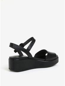Čierne dámske kožené sandálky na platforme Camper Misia