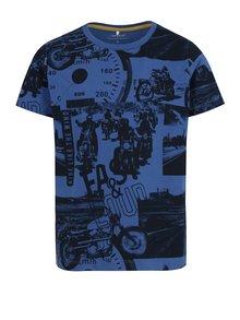 Modré chlapčenské tričko s potlačou name it Jalte