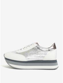 Pantofi sport argintii cu platforma Tamaris