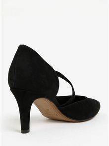 Pantofi negri din piele intoarsa cu toc si bareta Tamaris