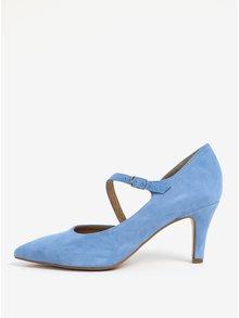 Pantofi albastri din piele intoarsa cu toc si bareta Tamaris