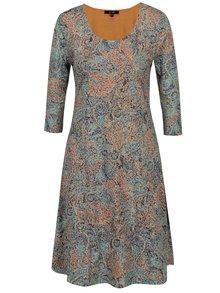 Modro-oranžové vzorované šaty s 3/4 rukávom Yest