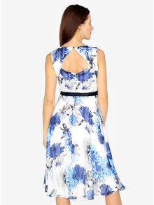 Modro-bílé květované šaty s véčkovým výstřihem M&Co
