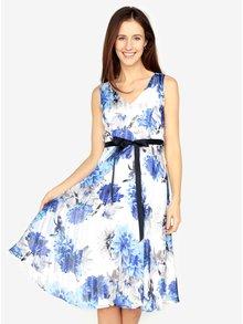 Modro-biele kvetované šaty s véčkovým výstrihom M&Co