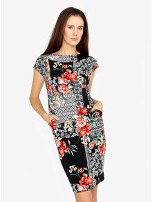Rochie neagra cu print floral ornamental M&Co