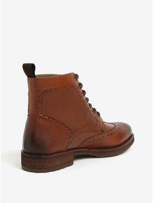 Hnědé kožené brogue kotníkové boty Burton Menswear London