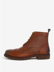 Ghete maro Brogue din piele naturala Burton Menswear London