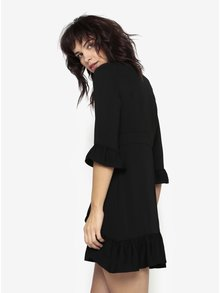 Černé asymetrické šaty s volány Miss Selfridge