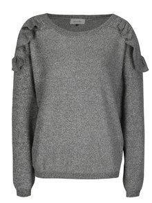 Šedý žíhaný svetr s volány a kulatým výstřihem Blendshe Laura