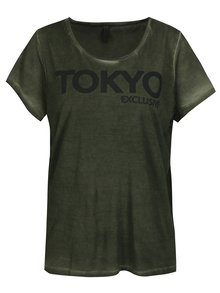 Khaki oversize tričko s potiskem Blendshe Oil