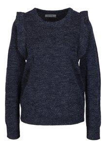 Tmavě modrý žíhaný svetr s volány Blendshe San