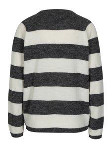 Krémovo-šedý pruhovaný svetr s véčkovým výstřihem Blendshe San