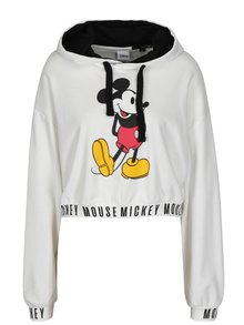 Hanorac cropped alb cu Mickey Mouse - TALLY WEiJL