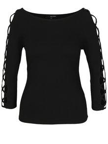 Bluza neagra cu bretele incrucisate pe maneci - TALLY WEiJL