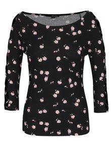 Bluza neagra cu decolteu barcuta si print floral - TALLY WEiJL