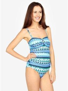 Modré vzorované jednodielne zoštíhľujúce plavky s korálikmi vo výstrihu M&Co