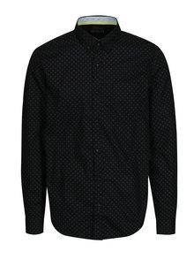 Čierna vzorovaná pánska slim fit košeľa s.Oliver