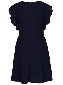 Tmavomodré krátke áčkové šaty s volánovým rukávom Mela London
