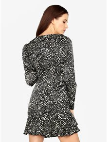 Rochie scurta neagra cu print abstract si maneci lungi - MISSGUIDED