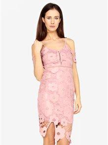 Růžové krajkové pouzdrové šaty MISSGUIDED