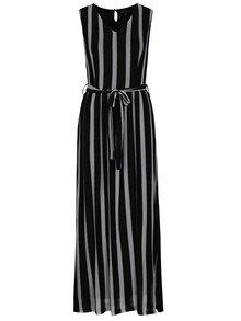 Šedo-černé pruhované maxišaty s véčkovým výstřihem Mela London