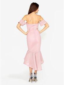 Rochie roz cu volan asimetric - MISSGUIDED