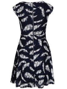 Tmavomodré áčkové šaty s motívom pierok Mela London