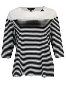 Modro–biele pruhované regular tričko s 3/4 rukávom Ulla Popken