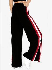Pantaloni culottes negri cu dungi contrastante si capse - MISSGUIDED