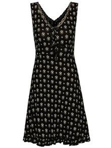 Čierna vzorovaná nočná košieľka s čipkovanými detailmi M&Co